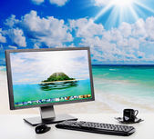 Sunny bright office on the beach — Stock Photo