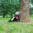 Businessman in the green park — Stock Photo #3643874