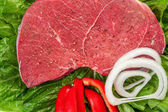 Meat with onions and peppers — Stockfoto