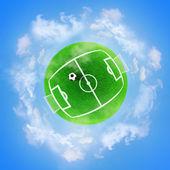 Football green planet — Stock Photo