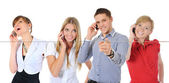 Picture of man and woman with cell phones — Stock Photo
