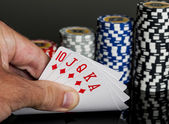 Poker chips Playing cards — Stock Photo
