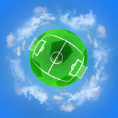 Football green planet — Stock Photo