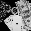 Poker chips Playing cards and dollars — Stock Photo #49905195