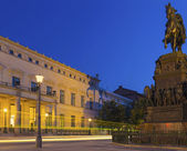 Berlin - Old Palace at Night with Frederick Monument — Stock Photo
