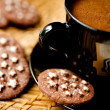Chocolate cookies and a cup of coffee — Stock Photo