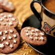 Chocolate cookies and a cup of coffee — Stock Photo #14052173