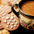 Chocolate cookies and a cup of coffee — Stock Photo #14052198