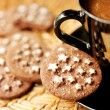 Chocolate cookies and a cup of coffee — Stock Photo #14052203