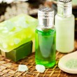 Set for spa: handmade soaps, aromatic oils and sesalt — Stock Photo #14052648