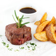 Stock Photo: Steak and fried potatoes