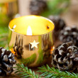 Christmas burning candle — Stock Photo