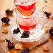 Hibiscus tea in glass cups — Stock Photo