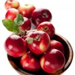 Stock Photo: Red apples in wooden bowl