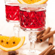 Stock Photo: Mulled wine with slice of orange and spices