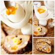 Healthy breakfast: boiled egg and whole grain bread with nuts and fruit. Collage. — Stock Photo