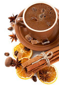 Cup of coffee, sweets and spices — Stock Photo