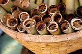 Sweet rice roasted in bamboo. Thai Cuisine — Stock Photo