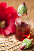 Aromatherapy set. Essential oil and red flowers. — Stock Photo