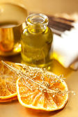 Orange essential oil for aromatherapy — Stock Photo