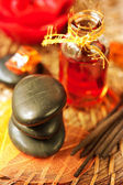 Spa stones, essential oils and incense sticks — Stock Photo