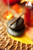 Ncense sticks and stones zen. small depth of field — Stock Photo