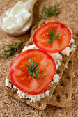Crispy rye bread, cheese and tomato — Stock Photo