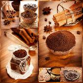 コーヒーやお菓子。コラージュ. — ストック写真