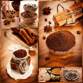 Coffee and sweets. Collage. — Photo