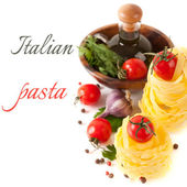 Talian pasta, tomatoes, garlic, spices and herbs (with sample text) — Stock Photo
