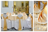 Wedding Table Setting. Collage — Stock Photo