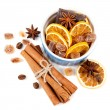 Coffee beans, cinnamon sticks, star anise, chocolate and dried oranges - Foto Stock