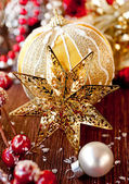 Christmas star and decorations — Stock Photo