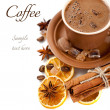 Сup of coffee with spices and sample text — Stock Photo