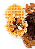Sweet waffles with walnuts and chocolate — Stock Photo