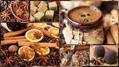 Kahve, kahve çekirdekleri, kahverengi şeker ve tarçın — Stok fotoğraf