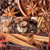 Coffee, coffee beans, brown sugar and cinnamon — Stock Photo
