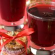 Hot mulled wine for Christmas, cookies, spices — Stock fotografie