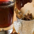 Mulled wine for Christmas and spices - Stock Photo