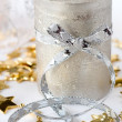 Christmas composition with candle and ribbon — Stock Photo