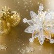 Stock Photo: Gold christmas ball and decorations