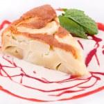Apple pie and berry creamy sweet sauce — Stock Photo #17183169