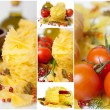 Italian pasta (macaroni). Tomatoes, herbs, spices and olive oil. Collage. — Stock Photo #17185253