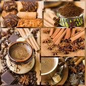 Collage. coffee, sweets and spices — Stock Photo