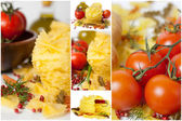 Italian pasta (macaroni). Tomatoes, herbs, spices and olive oil. Collage. — Stock Photo