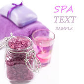 Spa Settings (soap, sea salt, candles and towels) — Stock Photo