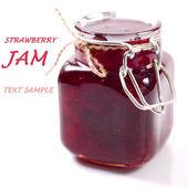 Dżem truskawkowy w szklanym słoju z przykładowy tekst — Zdjęcie stockowe