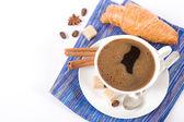 Pyszne kawy i rogalika — Zdjęcie stockowe