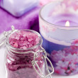 Stockfoto: SpSettings (soap, sesalt, candles and towels)