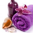 Spa (orchid, towels, sea salt, candle, and shells) — Stock Photo